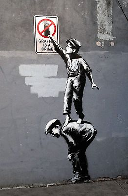 Banksy - Graffiti is a crime-24x36 Canvas Print Urban Graffiti | eBay