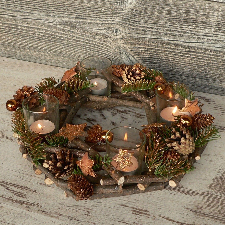 Adventskranz mit deko windicht advent holzkranz weihnachten holz glas kupfer for sale eur 18 - Holzkranz dekorieren ...