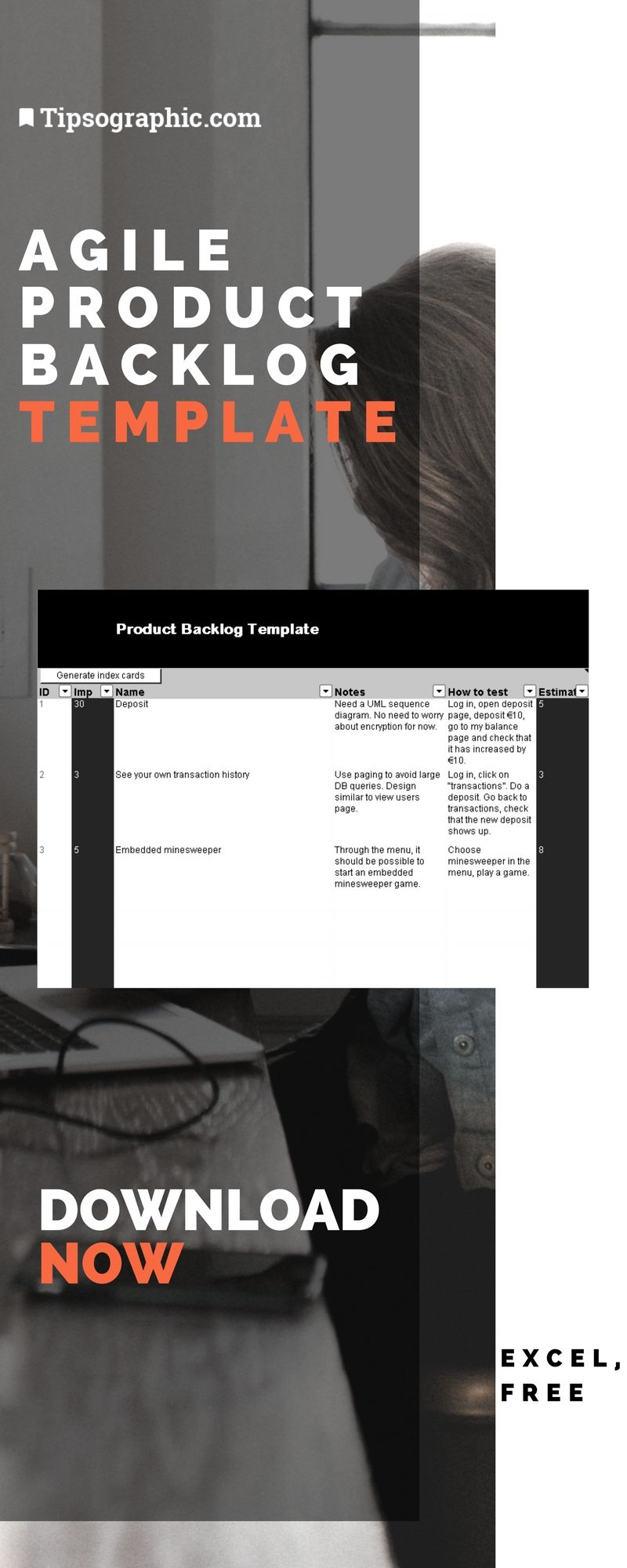 Agile Product Backlog Template for Excel, Free Download | Project ...