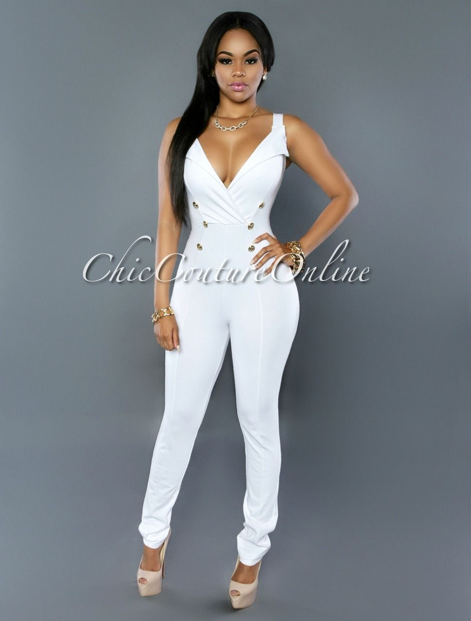 3effe9c164ff Chic Couture Online - Polly White Gold Buttons Jumpsuit