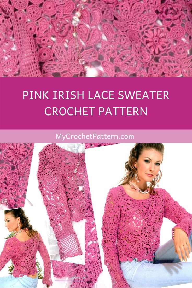 Pink irish lace sweater crochet pattern ️ MyCrochetPattern