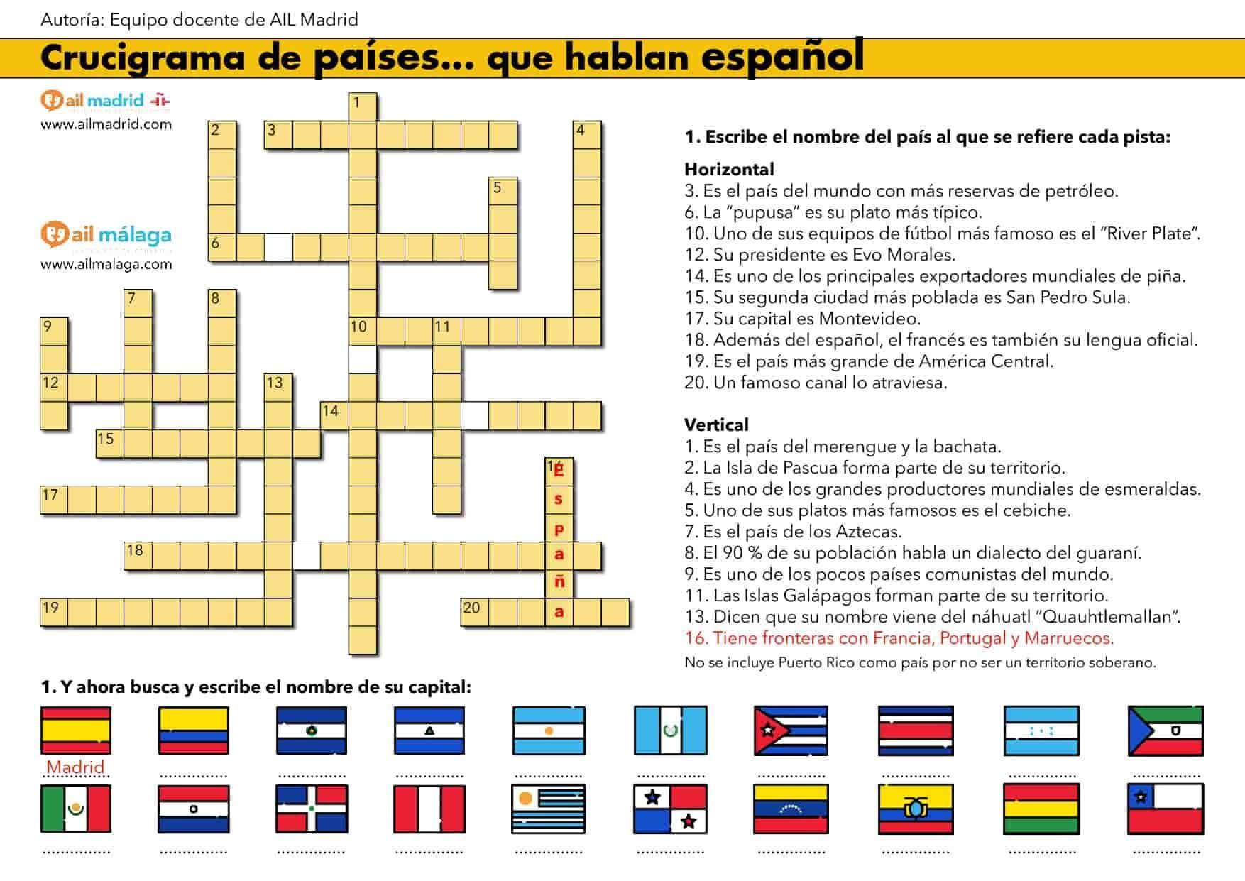 Los Países Que Hablan Español Aula De Español Crucigramas Español