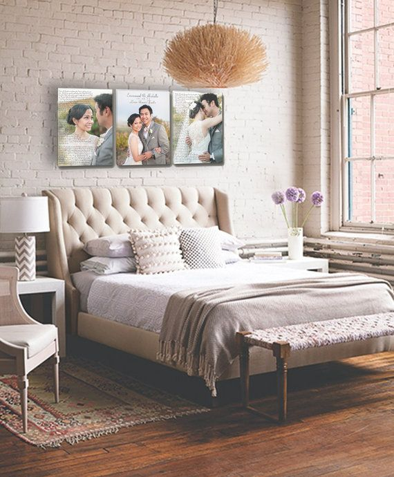 Wedding vow artwork on canvas with wedding by - Over bed art ideas ...