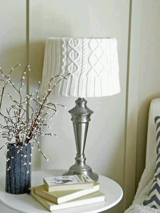 Sweater lampshade hgtv. #white #homedecor #lighting