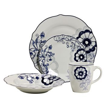 Tabletops Gallery Marion Blue 16 Pc. Dinnerware Set