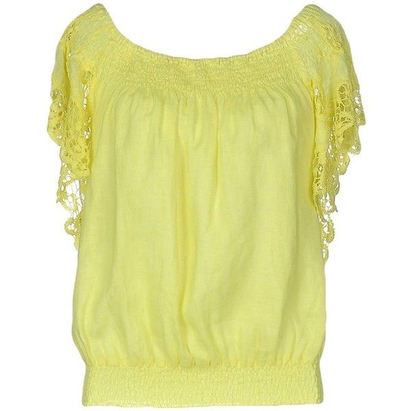 Temptation Blouse ($130) ❤ liked on Polyvore featuring tops, blouses, yellow, short sleeve lace top, short sleeve blouse, wide neck tops, lace top and short-sleeve blouse