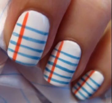 How To Do Notebook Paper Nail Art Maybe You Could Add Words With A Sharpie