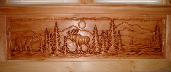 Bear and moose relief carving wildlife wood carvings