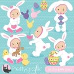 Easter baby girls clipart