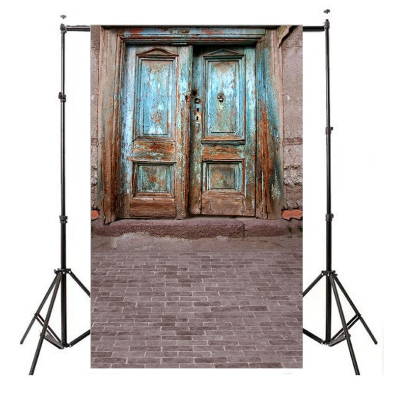 Customize Thin Non Woven Photography Backdrops Digital Printing Old Door Background For Photo Studio Props