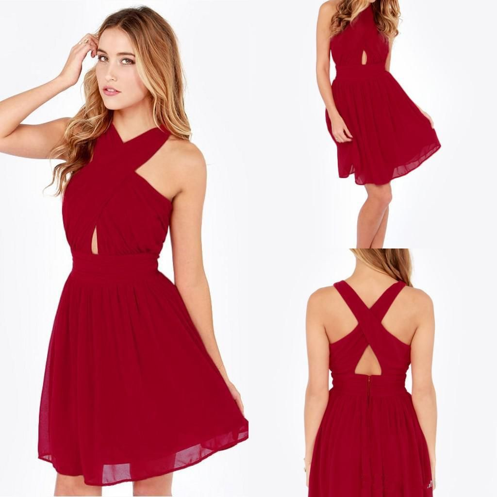 d8f73b3de66 Cheap 2015 Homecoming Dresses Under 100 High Neck Sexy Backless Chiffon Red  Cross Back Short Party Prom Wear Plus Size Mini Cocktail Gowns Designer  Dresses ...