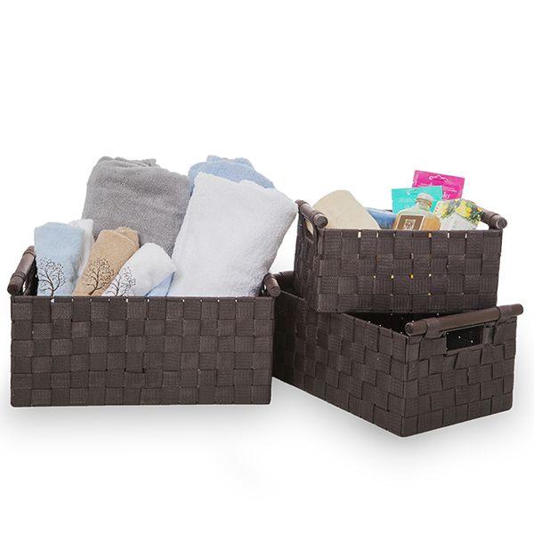 Sophia Nested Storage Baskets in Dark Brown - Set of Three 15in