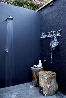 outdoor bathroom, cool... (Interior design, home decor, fun, creative, ideas, inspiration, amazing, different, interesting, style, shower, tree stubs, navy blue)