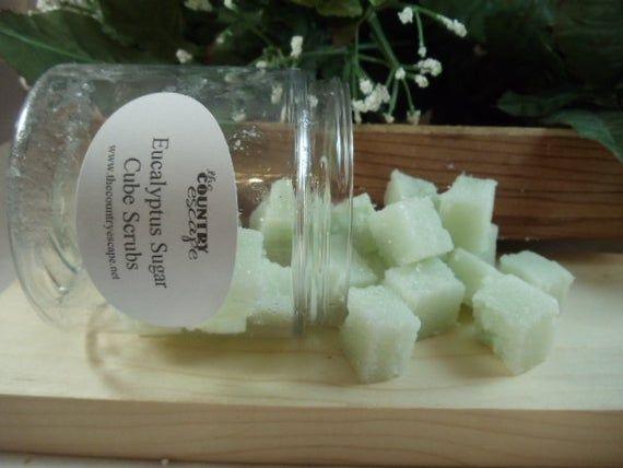 Eucalyptus Sugar Scrub Cubes- with Essential Oil and Jojoba Oil- Gentle Exfoliation #jojobaoil