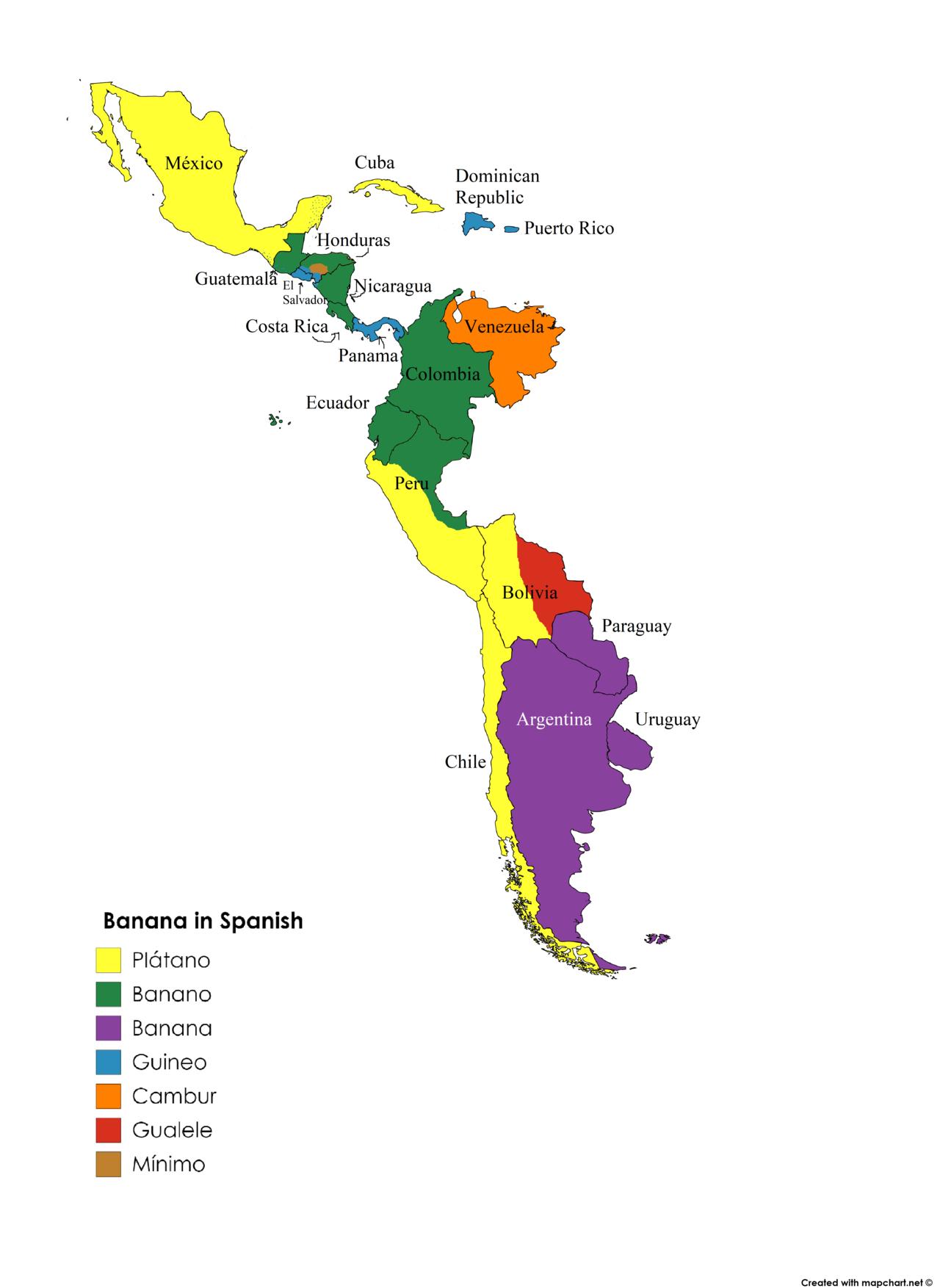 Banana In Spanish In Latin America Latin America Map Learning Spanish Language Map