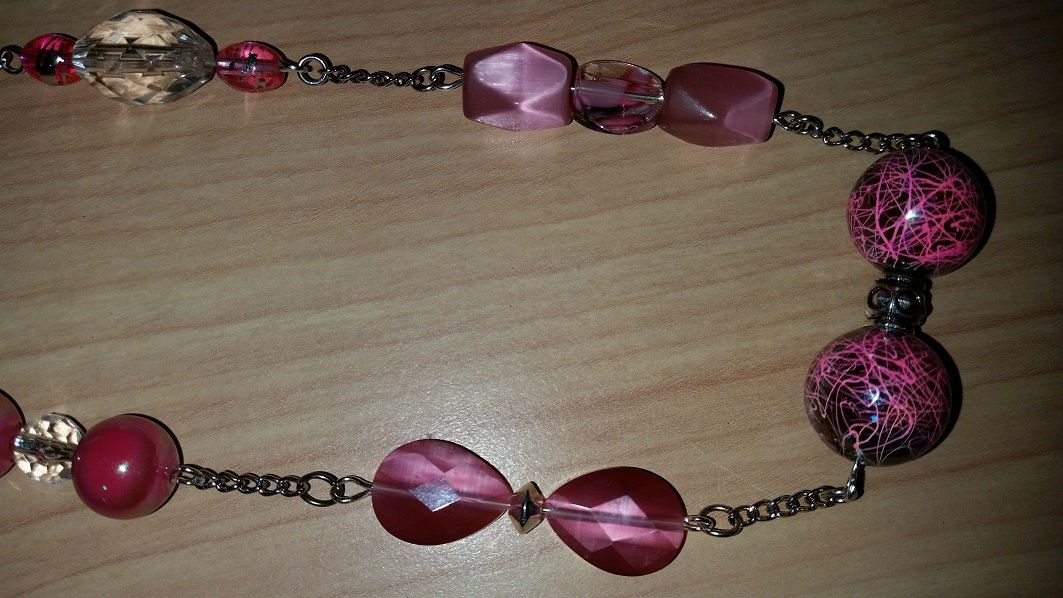 Bright pink long beaded necklace in latest style by tonispretties on Etsy