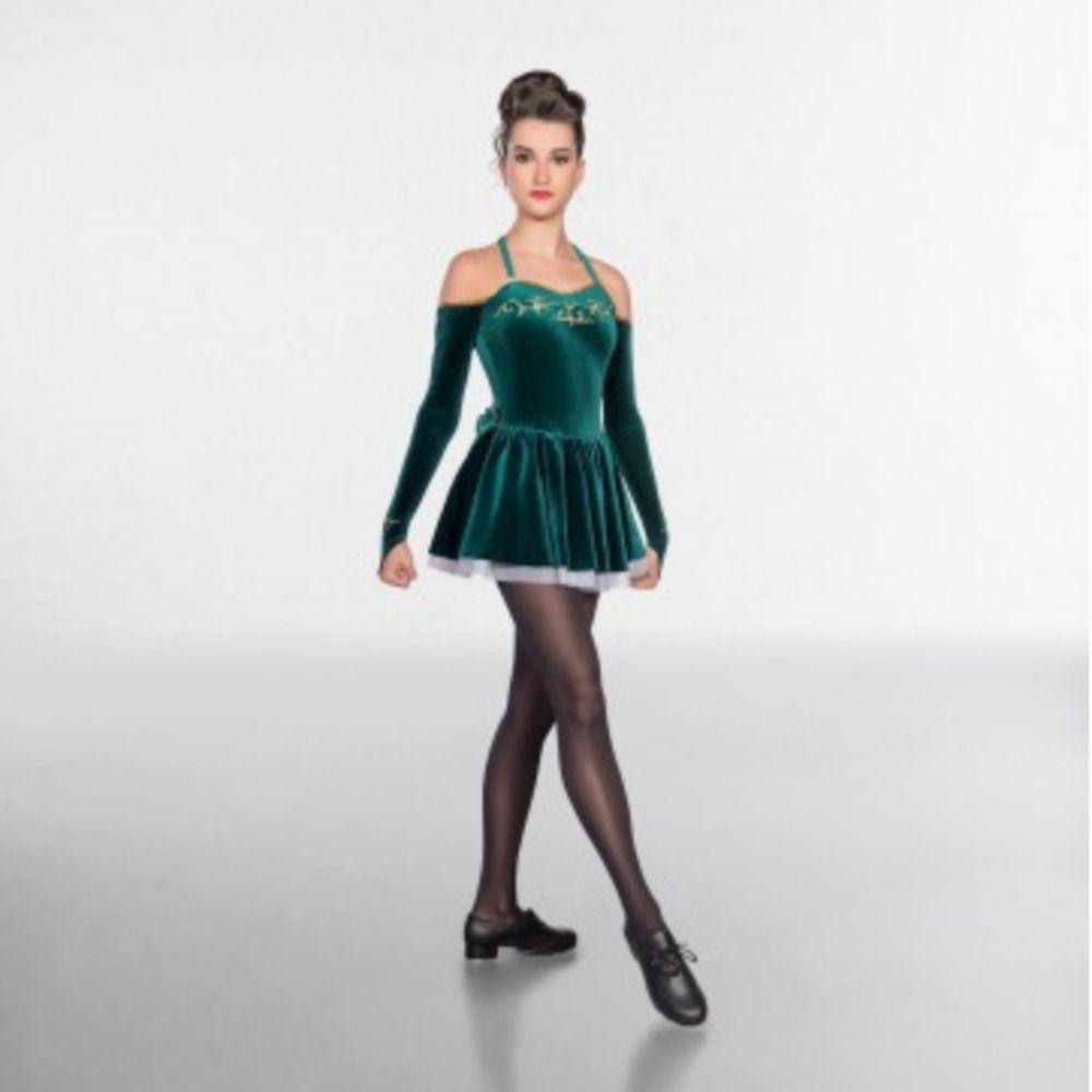 67a060b95 1st Position Embroidered Velour Irish Dance Dress - Green - Burgundy ...