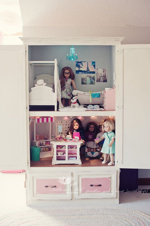 The MomTog Diaries: An Old Armoire Gets A New Life As An American Girl  Dollhouse