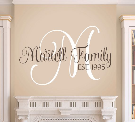 Family Wall Decal Set Monogram Wall Decals Monogram Wall And - Family monogram wall decals