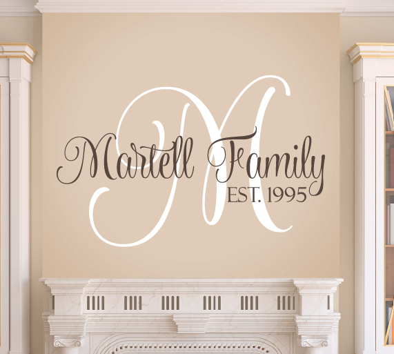 Family Monogram Wall Decal & Family Wall Decal Set | Pinterest | Monogram wall decals Monogram ...