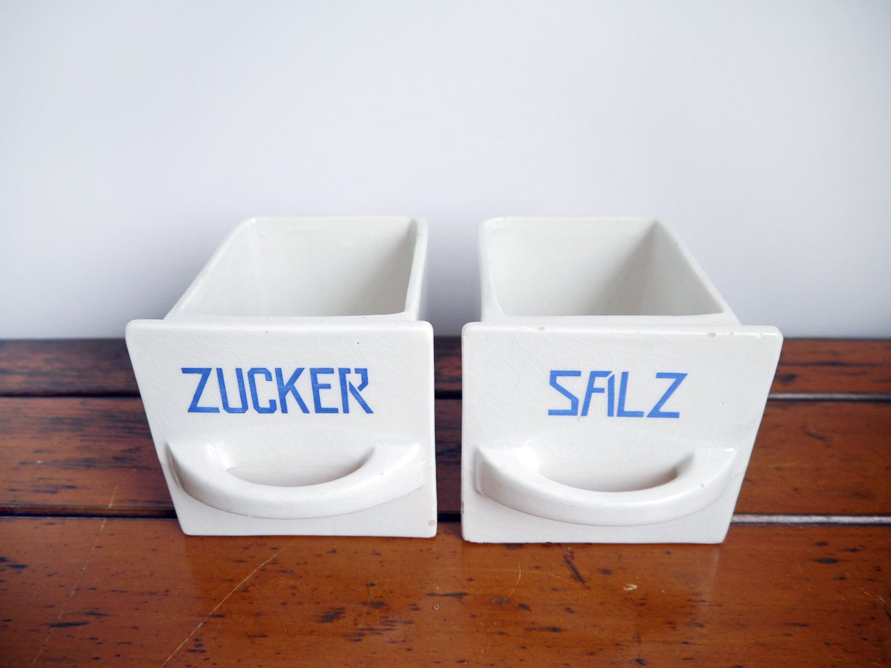RESERVED 2 Antique sugar & salt Scoops Ceramic Pottery Drawers 2 ...