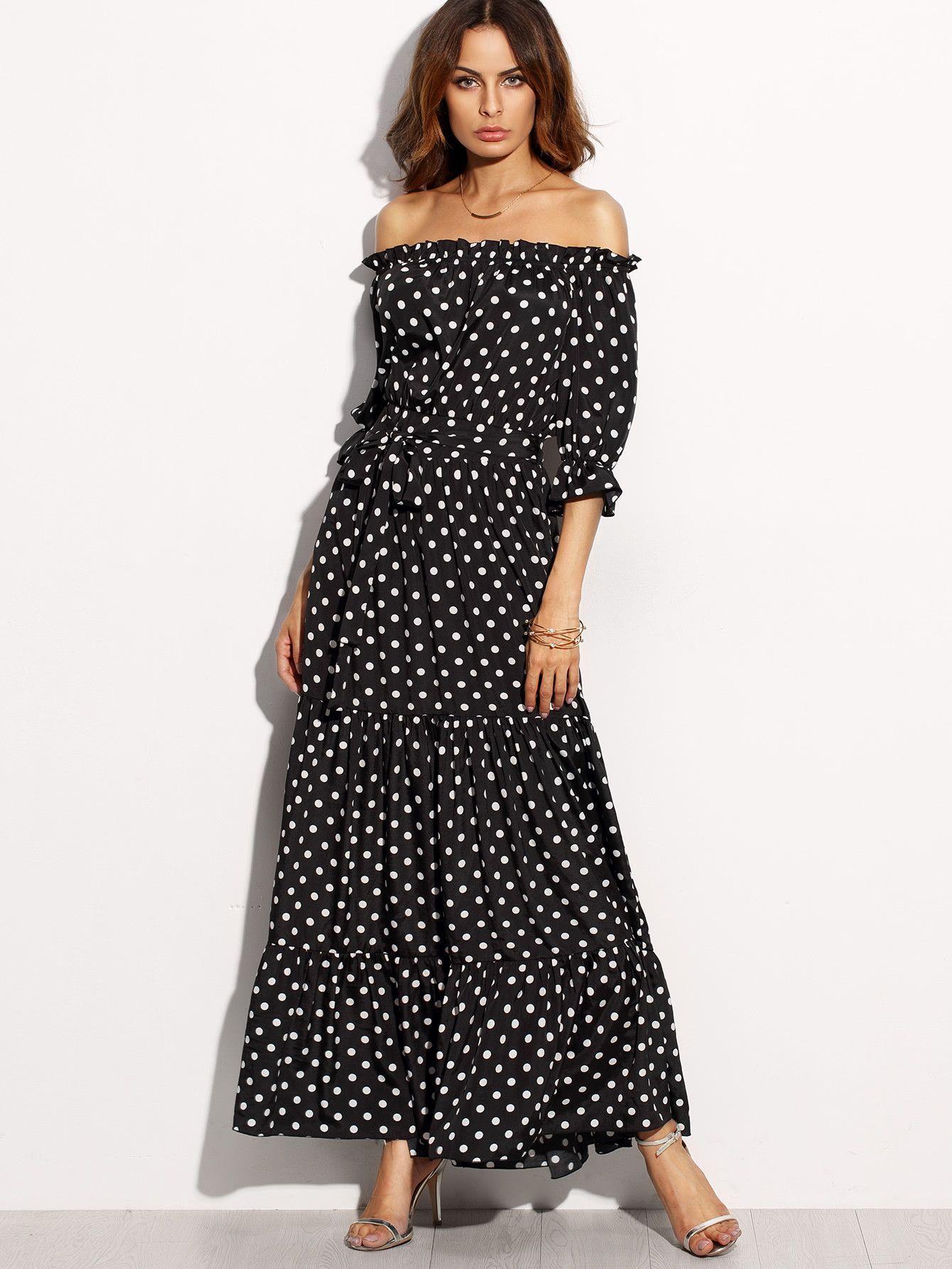 4015e57d4c142e Belt  YES Fabric  Fabric has no stretch Season  Summer Pattern Type  Polka  Dot Sleeve Length  Half Sleeve Color  Black and White Dresses Length  Maxi  Style  ...