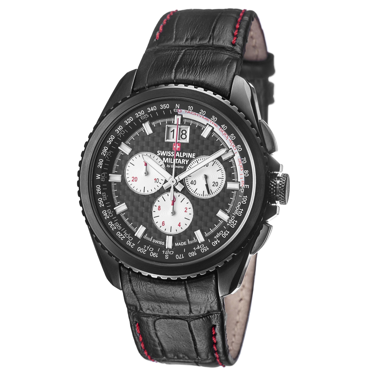 Grovana Swiss Alpine Military Men's 1621.9577 SAM 'Thunder' Carbon Fiber Dial Watch