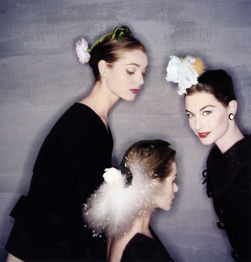Elsa Martinelli, Candy Tannev, and Nancy Berg all wearing Balenciaga, Paris, July 1954. Photo by Clifford Coffin.