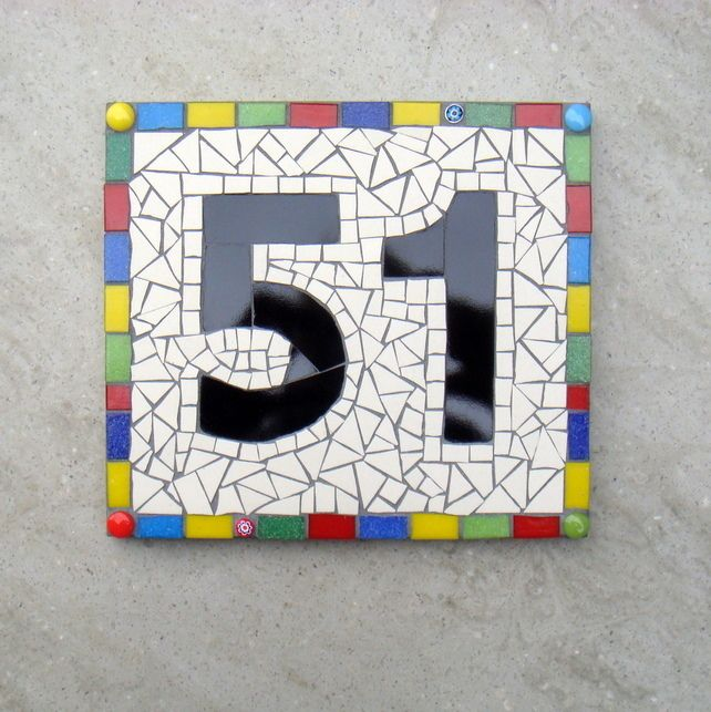 Mosaic House Number Sign Plaque Ornament