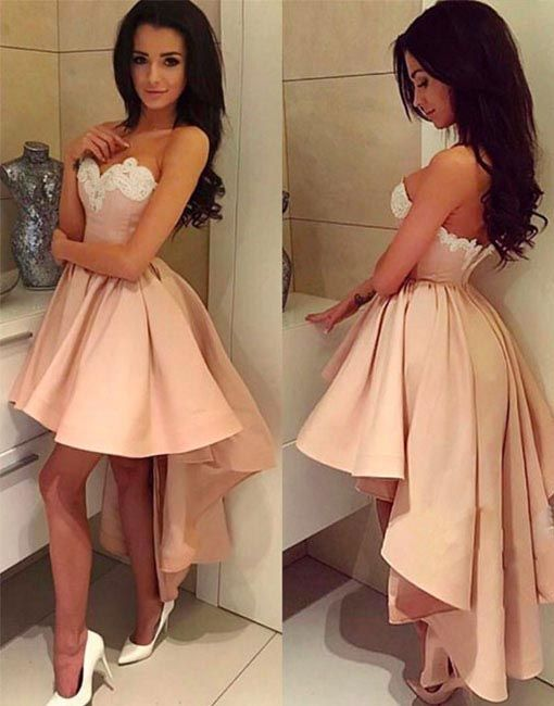 58467e62a17 Charming A-Line Sweetheart High Low Satin Homecoming Prom Dress With ...