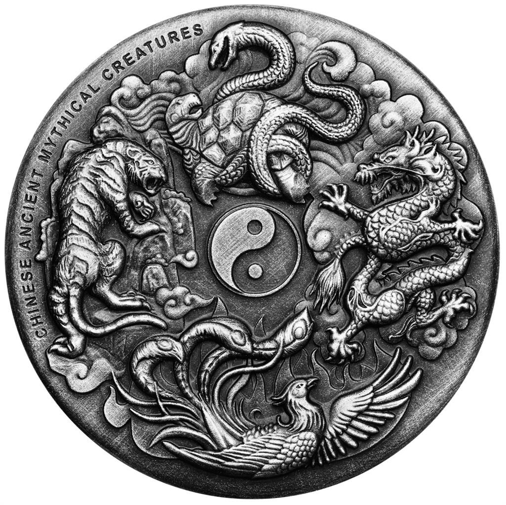 Chinese Ancient Mythical Creatures 2 Oz Mythical Creatures Yin Yang Tattoos Coins