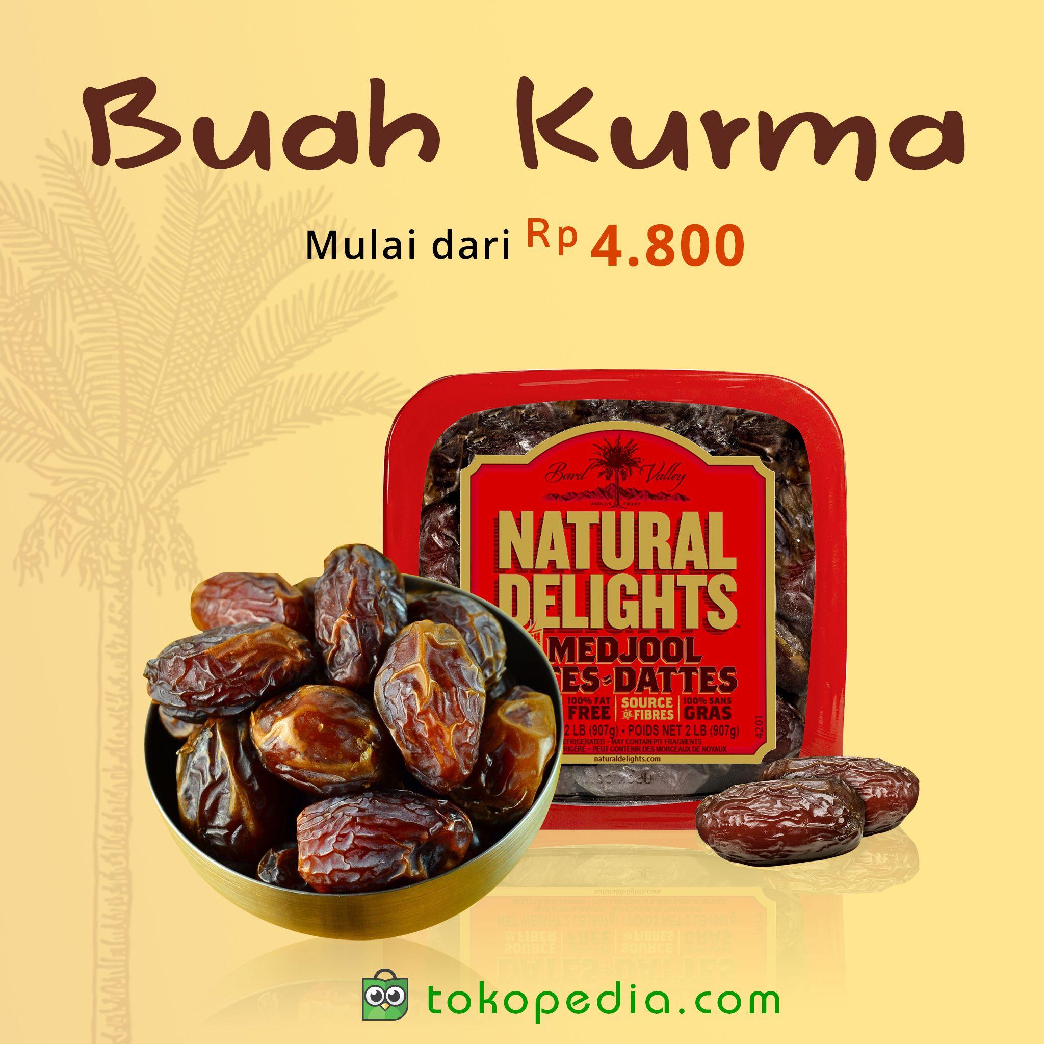 Buah Kurma menjadi salah satu pilihan favorit kala berbuka di bulan suci Ramadhan, karena memiliki nutrisi tinggi dan rasanya manis. Yuk dapatkan Buah Kurma berkualitas dengan harga murah, mulai dari Rp 4.800,- (harga bervariasi) di http://www.tokopedia.com/hot/buah-kurma