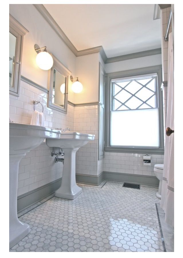 Love The Grey Trim With White Subway Tile And Hex Tile