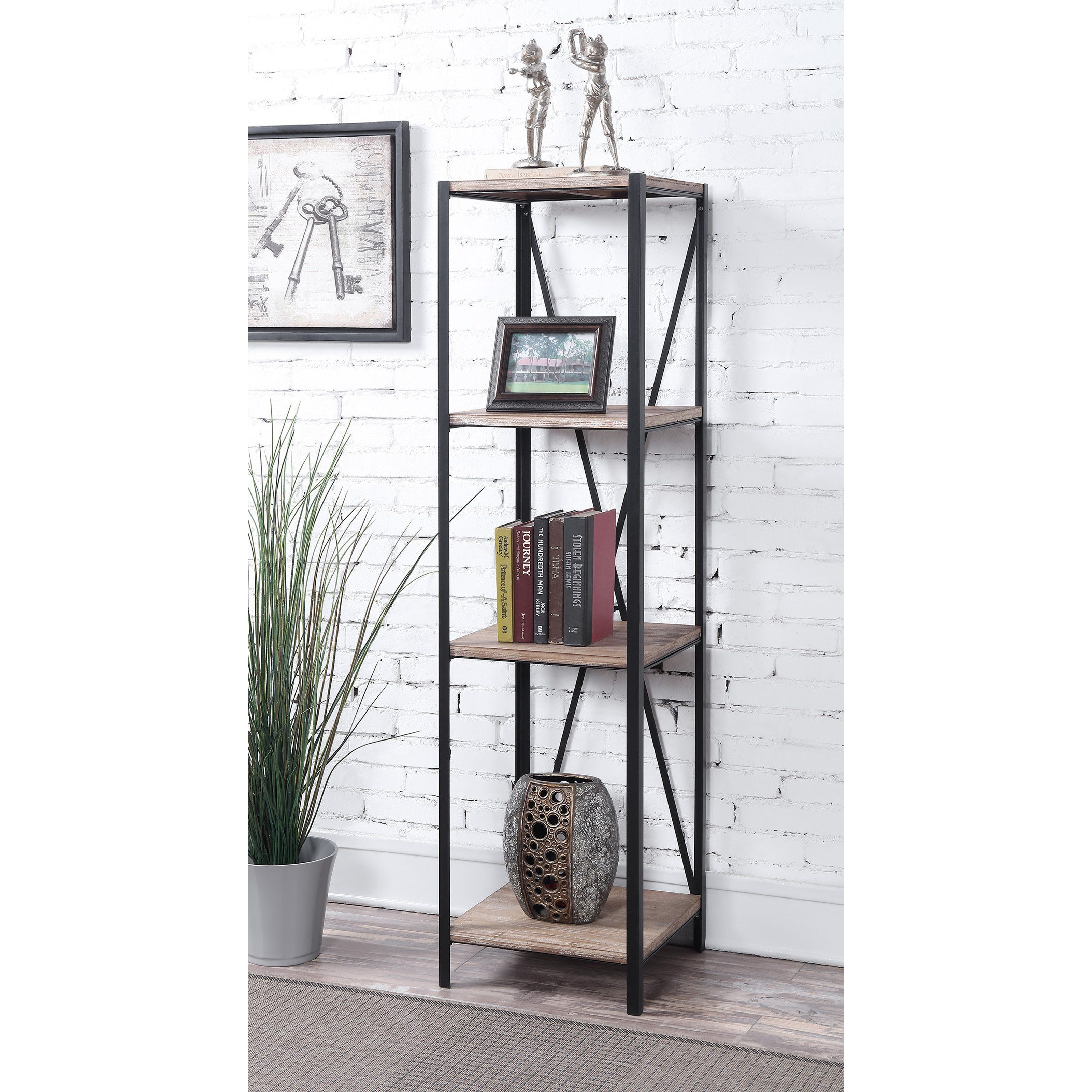 finish open number with tower bookcases coaster products distressed wood item bookcase