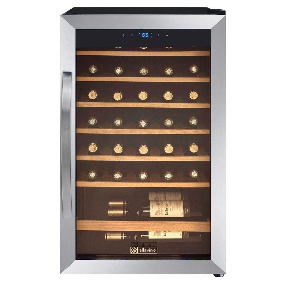 Allavino 34 Bottle Wine Refrigerator Silver With Images Wine Refrigerator Wine Best Wine Refrigerator