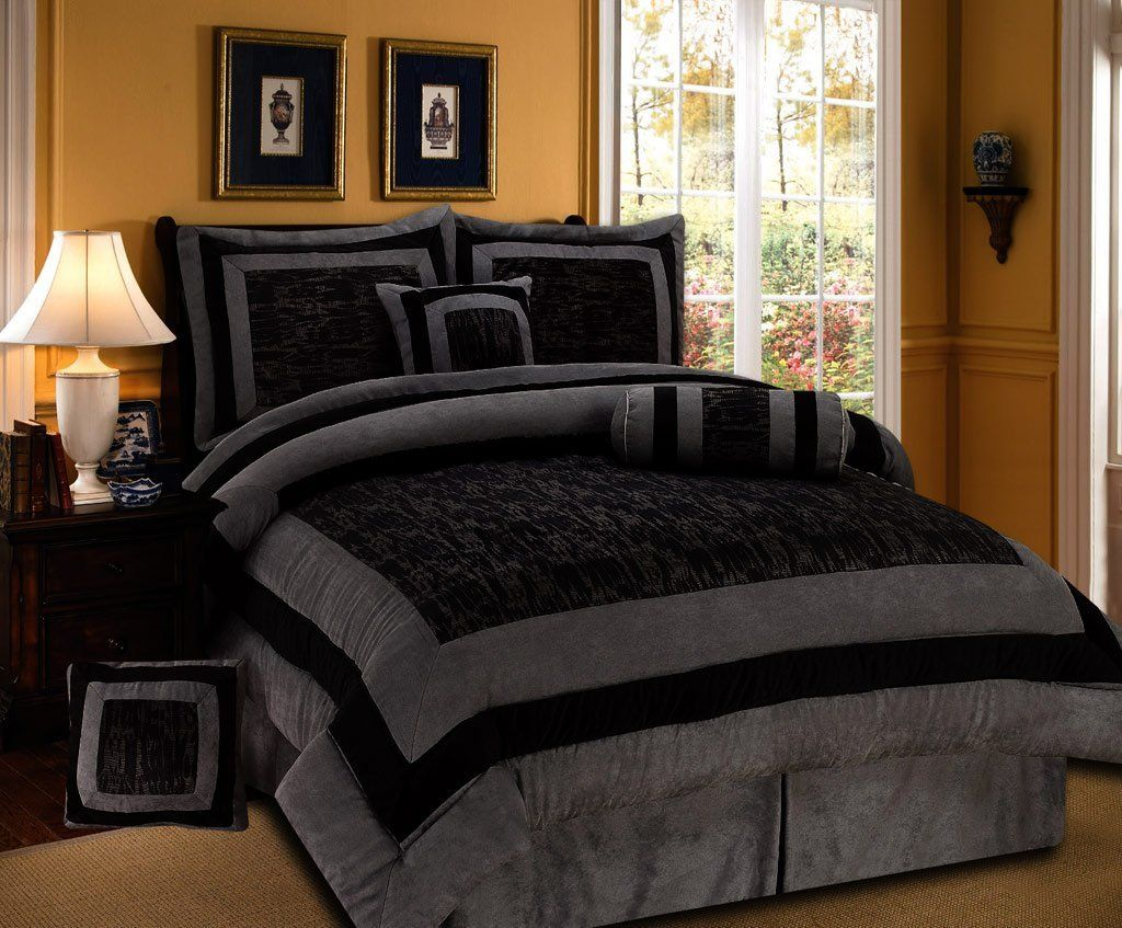 7 pieces black and grey micro suede comforter set bed in a bag queen size bedding. Black Bedroom Furniture Sets. Home Design Ideas
