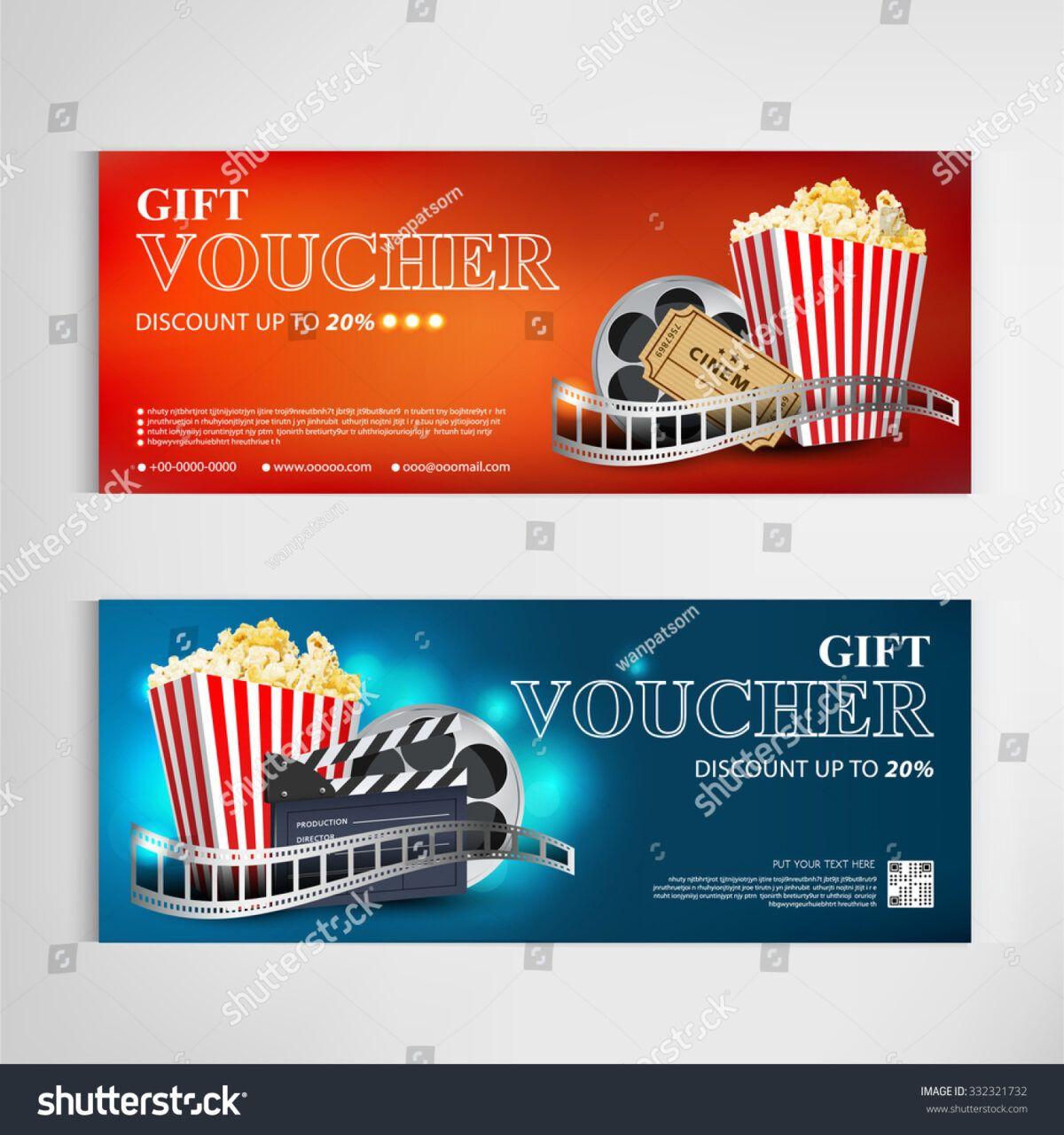 Gift voucher movie template modern pattern stock vector