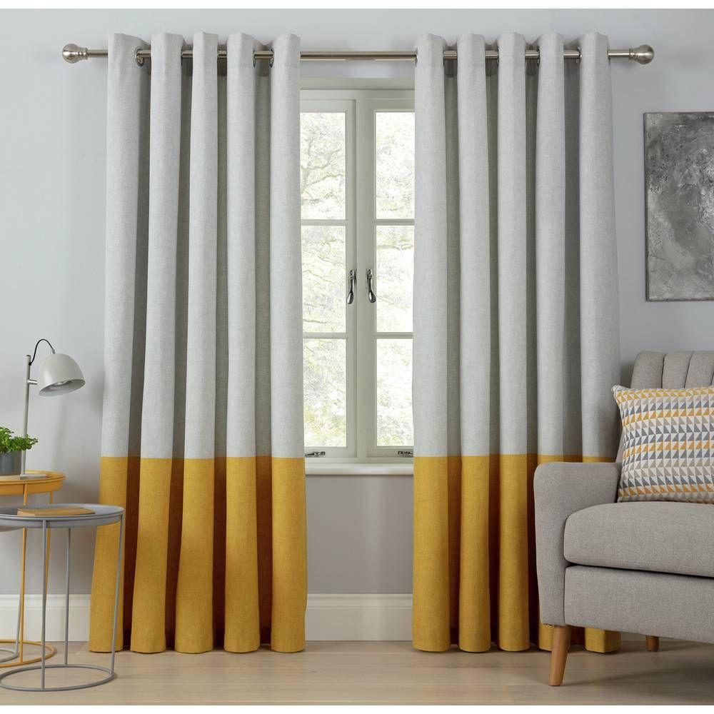 Buy Argos Home Printed Border Unlined Eyelet Curtains Mustard Curtains Argos Mustard Living Rooms Argos Home Curtains Living Room