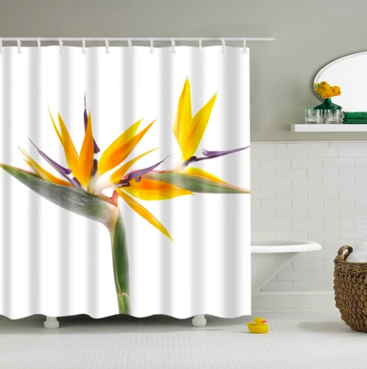 Byrd Of Paradise Flower Fabric Shower Curtain Fabric Shower