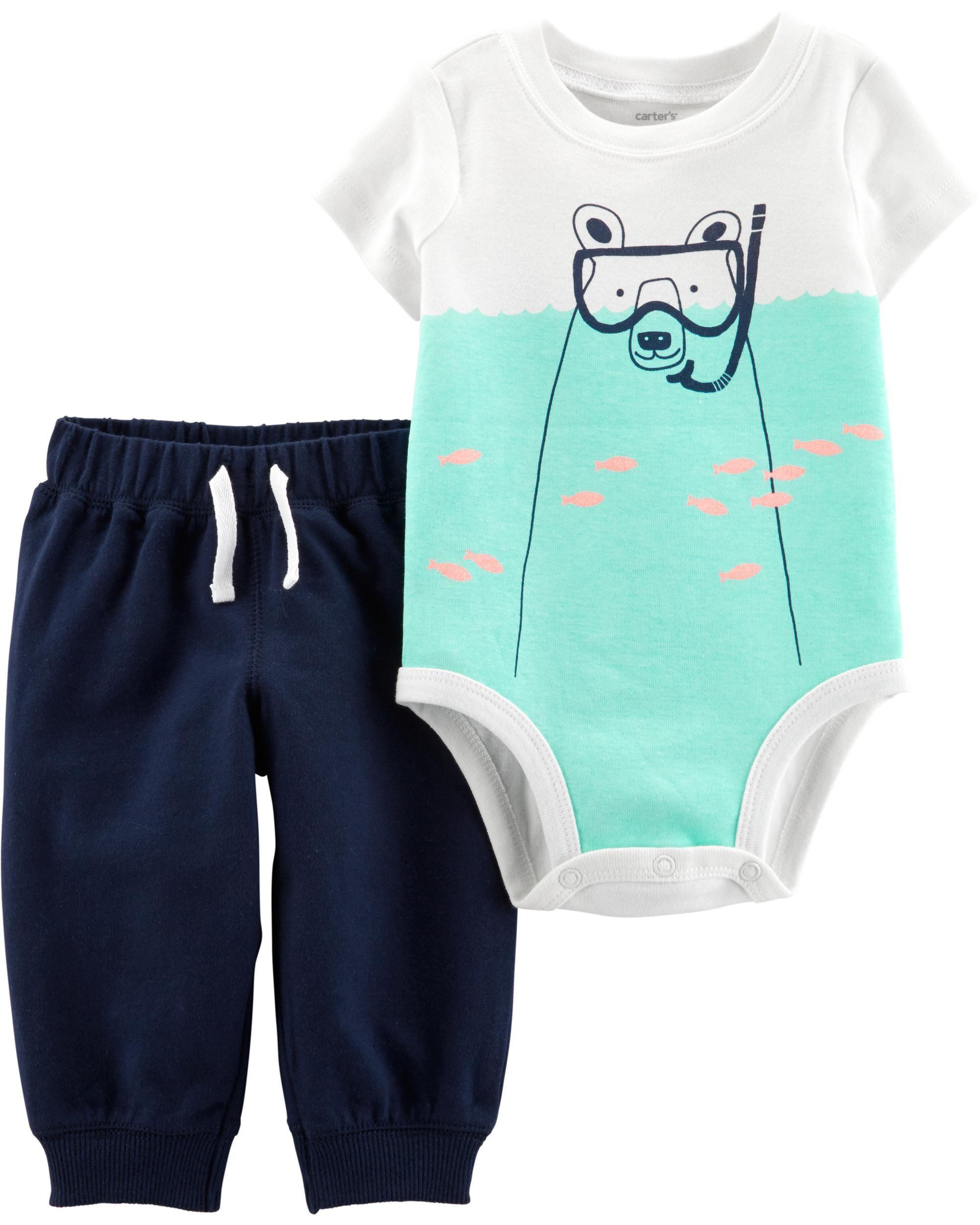 Cute Styles! Nautica Newborn Infant Baby Boy/'s 3-piece Bodysuit and Pants Set