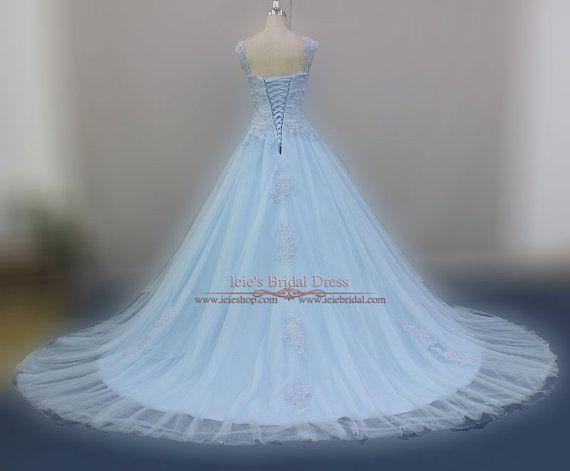 Powder Blue Cinderella Ball Gown Wedding Dress Blude Wedding   Etsy ...