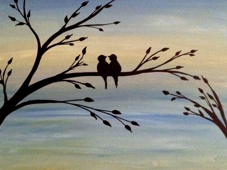 Birds on branch painting love birds acrylic painting