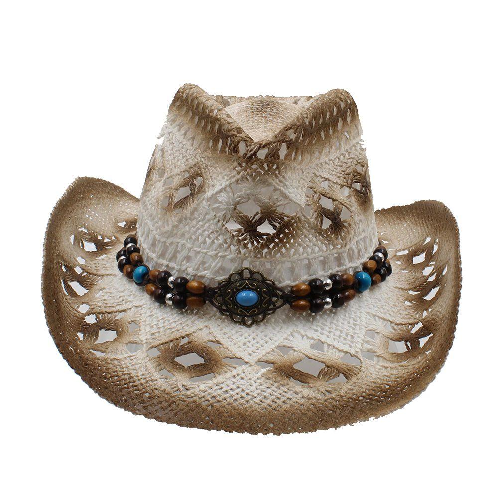 Men Women Straw Cowboy Hats Western Caps Panama Wide Brim Sunhat Sombrero  Fedora ca3eaa97d70