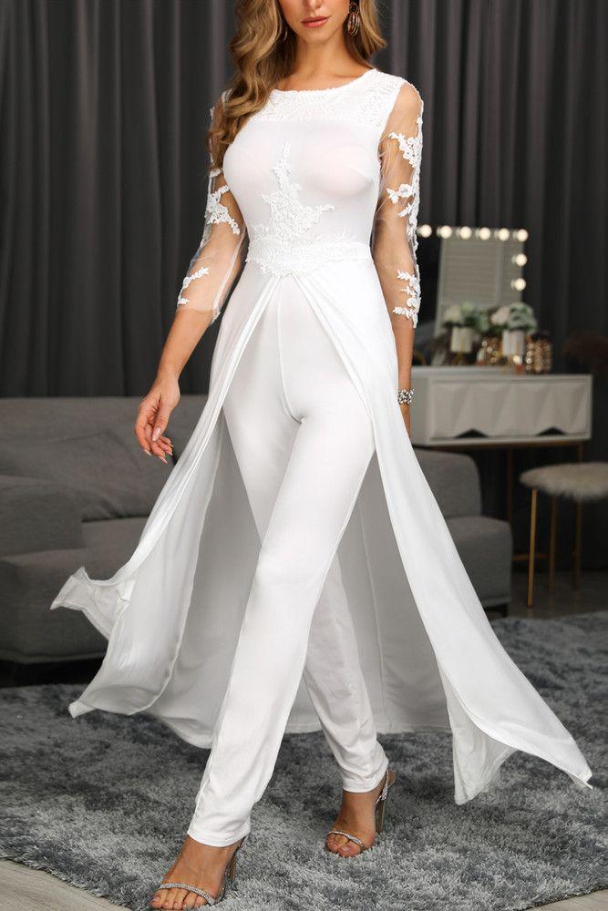 Fashion Stitching Long Sleeve White Lace Jumpsuit In 2021 Jumpsuits For Women White Lace Jumpsuit Jumpsuit Fashion