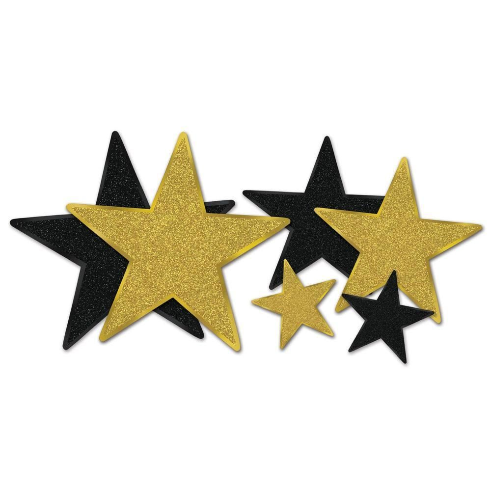 Glittered Star Cutouts, assorted black and gold (12 Packs) | Glitter ...