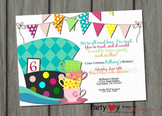 mad hatter Birthday Invitation Birthday Invitation Bright Birthday