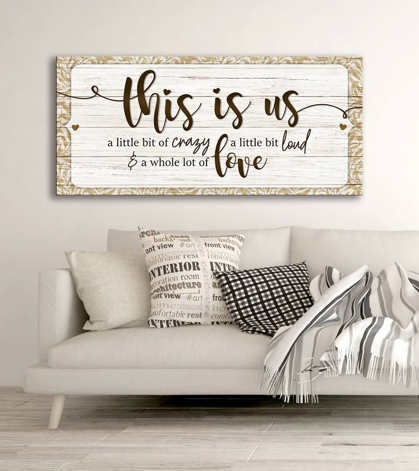 Family Wall Art: This Is Us A Little Bit Of Crazy (Wood Frame Ready To Hang)