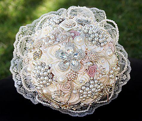 Vintage Pearl Lace Bridal Brooch Bouquet