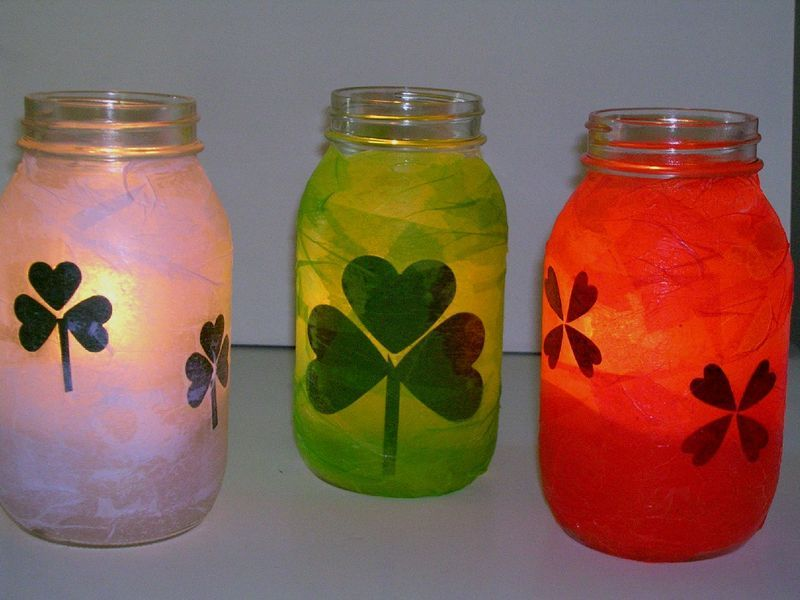 Decoupaged jar luminaries for #StPatricksDay. Love #decoupage #crafts!