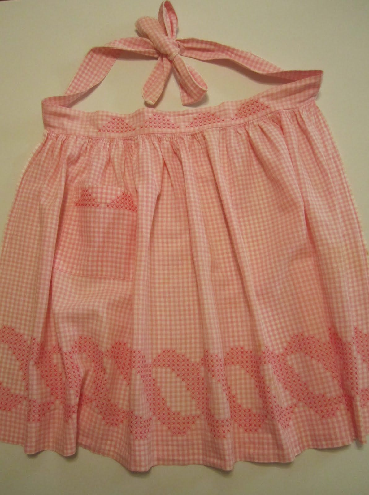 White half apron australia - Pink Gingham And Embroidery Vintage Apron